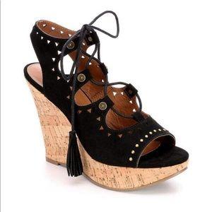 Shoes - Eva & Zoe Lace Up Wedge